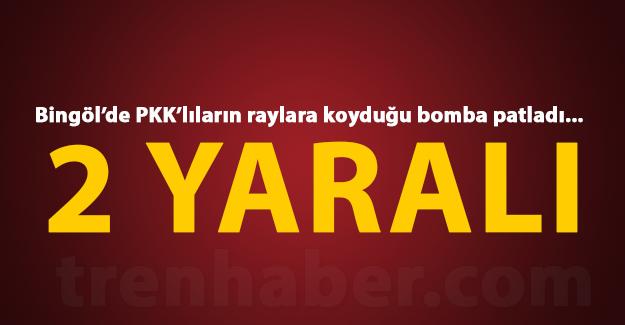 Bingöl'de PKK'lıların raylara yerleştirdiği bombanın patlaması sonucu 2 korucu yaralandı