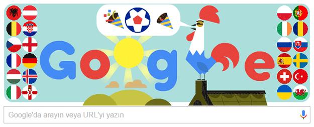 Fransa euro 2016 özel doodle googledan