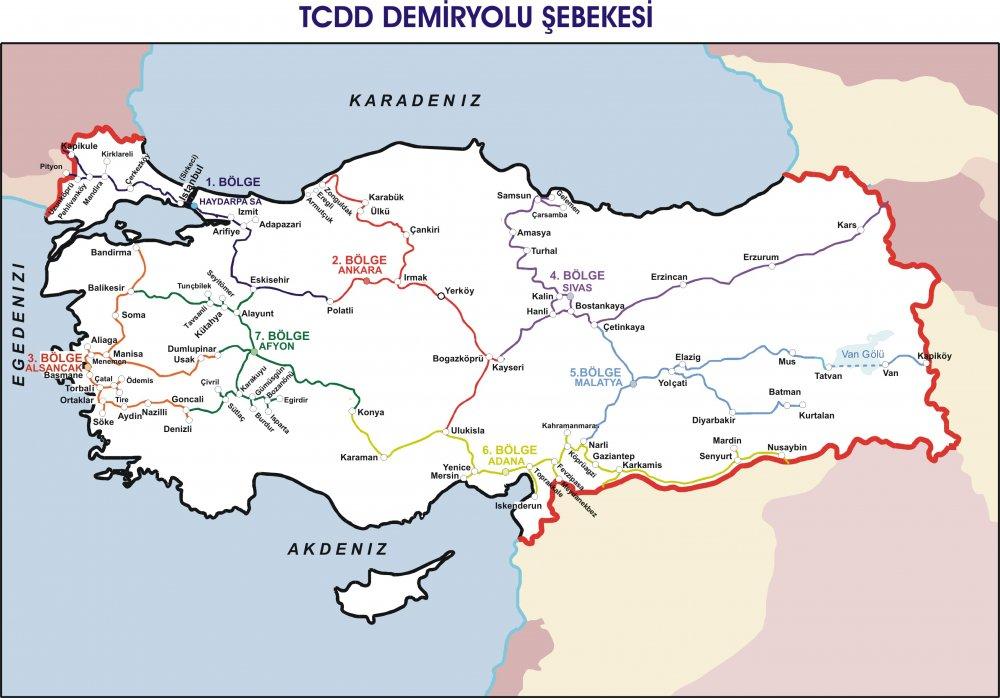 TCDD Bölge Müdürlükleri Sınırlarını Gösteren Harita 2016