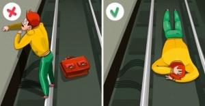 Metroda raylara düşerseniz ne yapmalısınız?