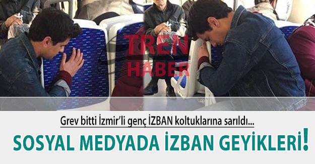 Grev bitti İzmirli genç koltuğa sarıldı! Sosyal medyada İZBAN geyikleri