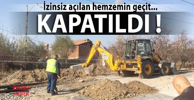 Malatya'da izinsiz açılan hemzemin geçit kapatıldı