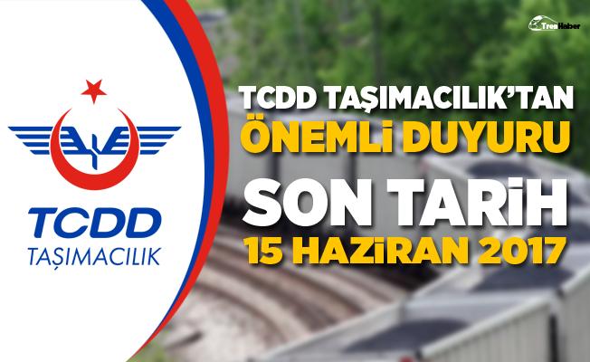 TCDD Taşımacılık'tan Müşterilerine Önemli Duyuru