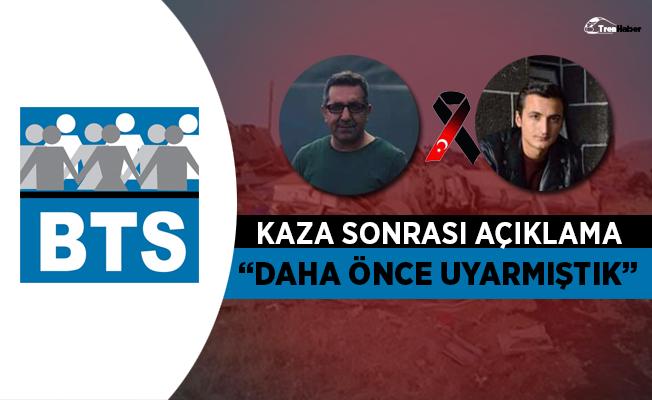 """BTS'den Elazığ'daki tren kazası sonrası açıklama: """"Daha önce uyarmıştık"""""""