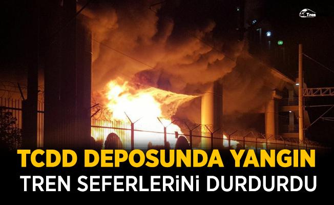 TCDD Deposunda yangın! Tren seferlerini durdurdu