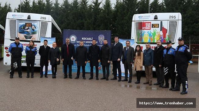 Kocaeli'de Sosyal Mesaj İçerikli Otobüsler Seferlere Başladı