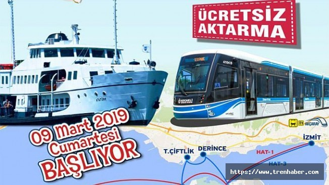 Kocaeli'de Vapurdan Tramvaya Ücretsiz Aktarma Uygulaması Başlıyor