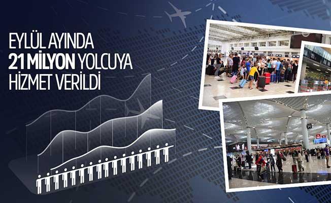 Eylül ayında 21 milyon yolcu havayolunu tercih etti