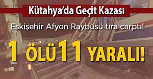 Kütahya'da Raybüs hemzemin geçitte kamyona çarptı! 1 ölū 5 yaralı