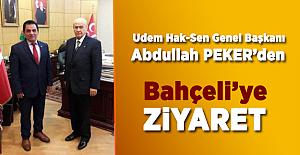 Udem Hak-Sen Genel Başkanı Abdullah Peker'den Bahçeli'ye Ziyaret