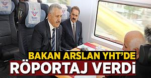 Bakan Arslan Hızlı Tren'de Xinhua'ya röportaj verdi