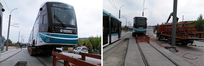 Kocaeli akcaray 7 tramvay raylara indirildi