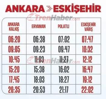 ankara eskişehir yüksek hızlı tren saatleri