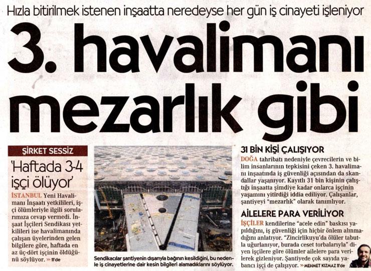 Cumhuriyet Gazetesi 3. Havalimanı mezarlık gibi