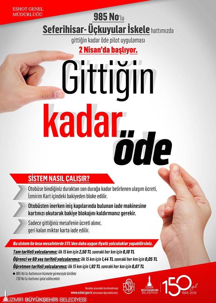 İzmir gittiğin kadar öde sistemi nasıl çalışacak