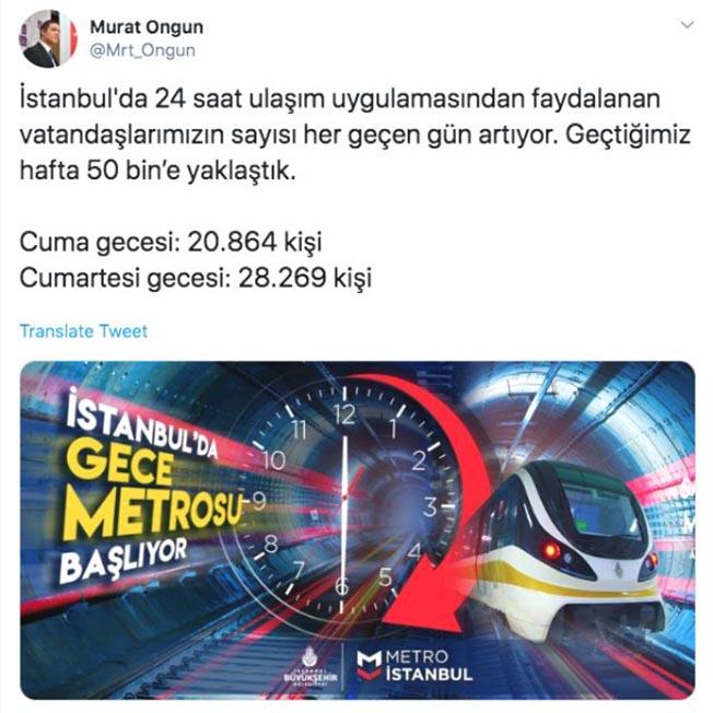 istanbul da gece metro seferlerini kullananların sayısı
