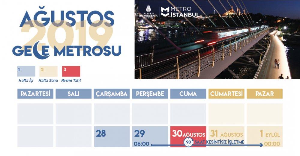 istanbul metrosu agustos ayı çalışma programı