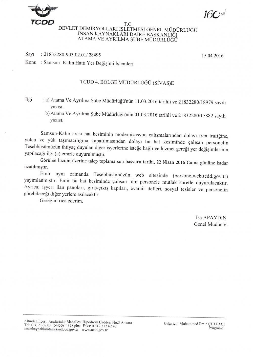 Samsun Kalın nakil talep toplama süresi uzatıldı