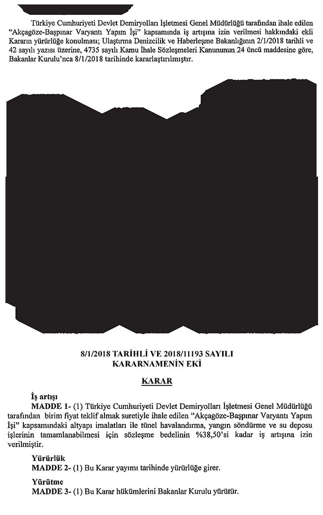 Akçagöze-Başpınar Varyantı Yapım İşi iş artış kararı tutanağı