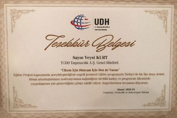 TCDD Taşımacılık A.Ş.'ye Teşekkür Belgesi Verildi
