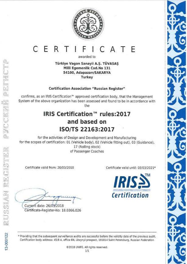 Tüvasaş IRIS sertifası
