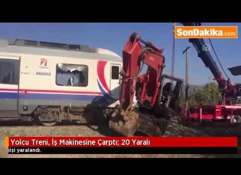 İzmir Bayındır'da Yolcu Treni İş Makinasına Çarptı!